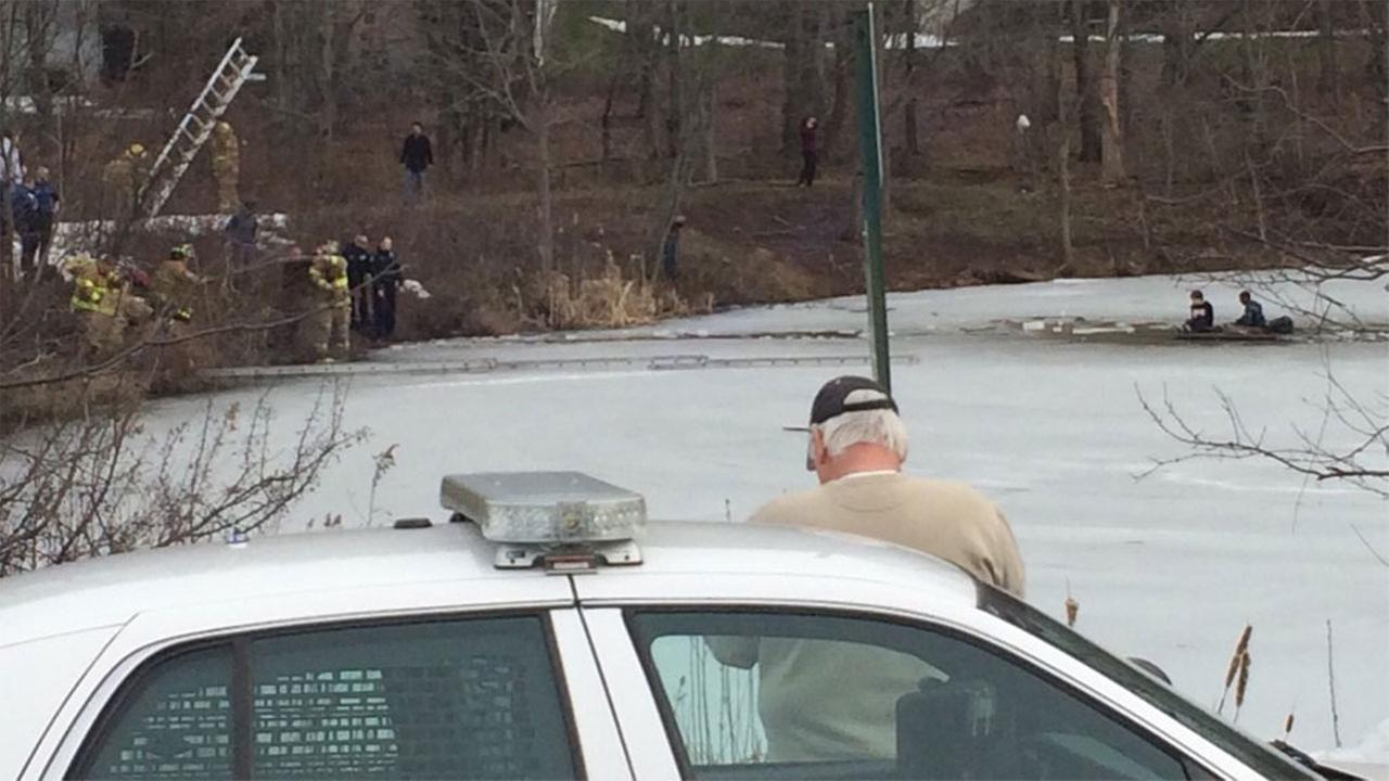 Police say three boys, ages 12-13, have been rescued after falling through a frozen pond in Chalfont, Bucks County.