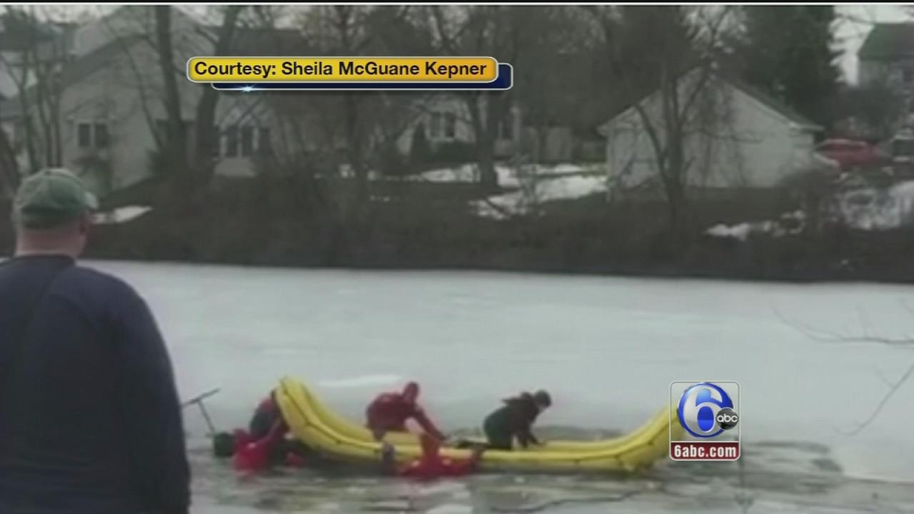 VIDEO: Frozen pond rescue