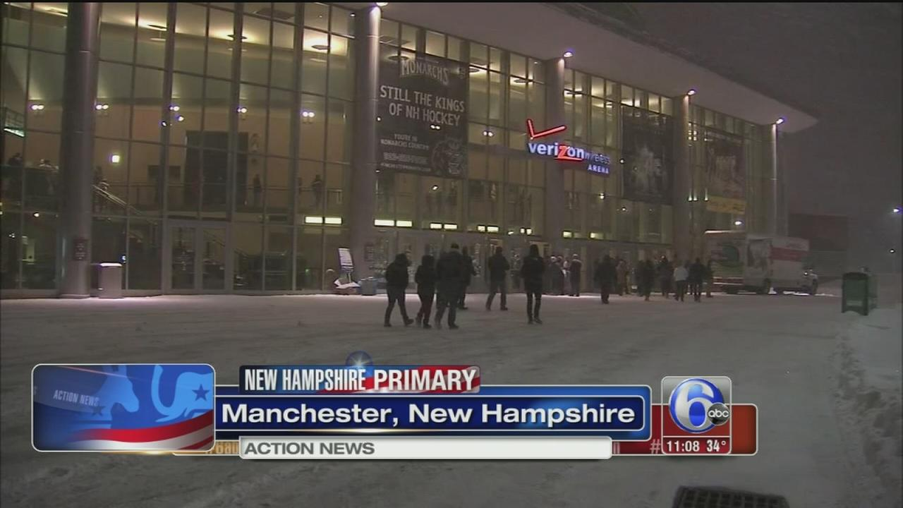 VIDEO: Snowy conditions at New Hampshire primary