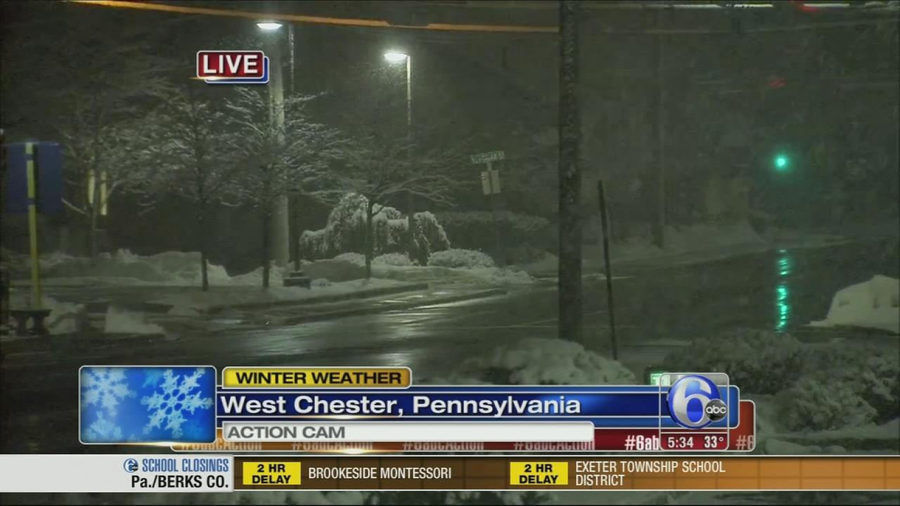 VIDEO: Snow continues to fall lightly in West Chester