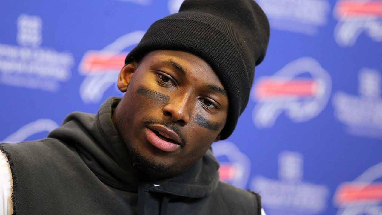 FILE - In this Dec. 6, 2015, file photo, Buffalo Bills running back LeSean McCoy talks to reporters after an NFL football game against the Houston Texans, in Orchard Park, N.Y.
