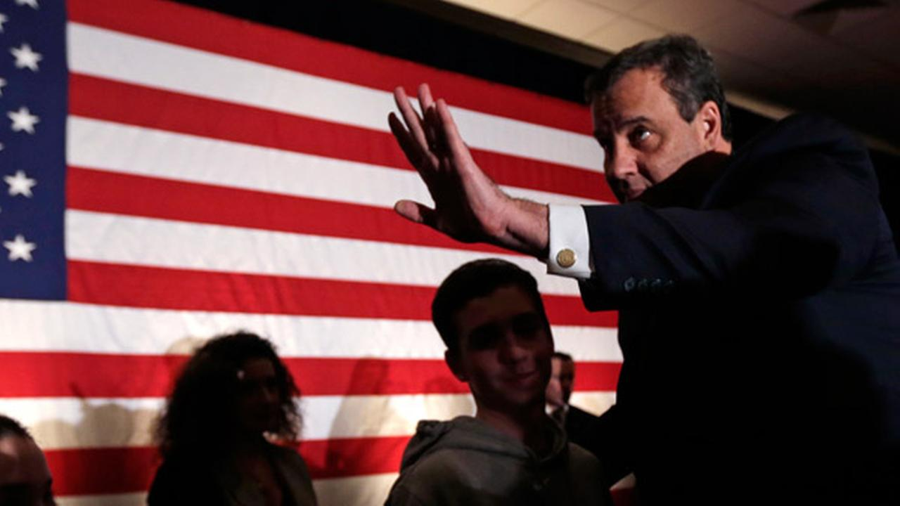 Republican presidential candidate, New Jersey Gov. Chris Christie thanks supporters during a primary night rally in Nashua, N.H., Tuesday, Feb. 9, 2016.