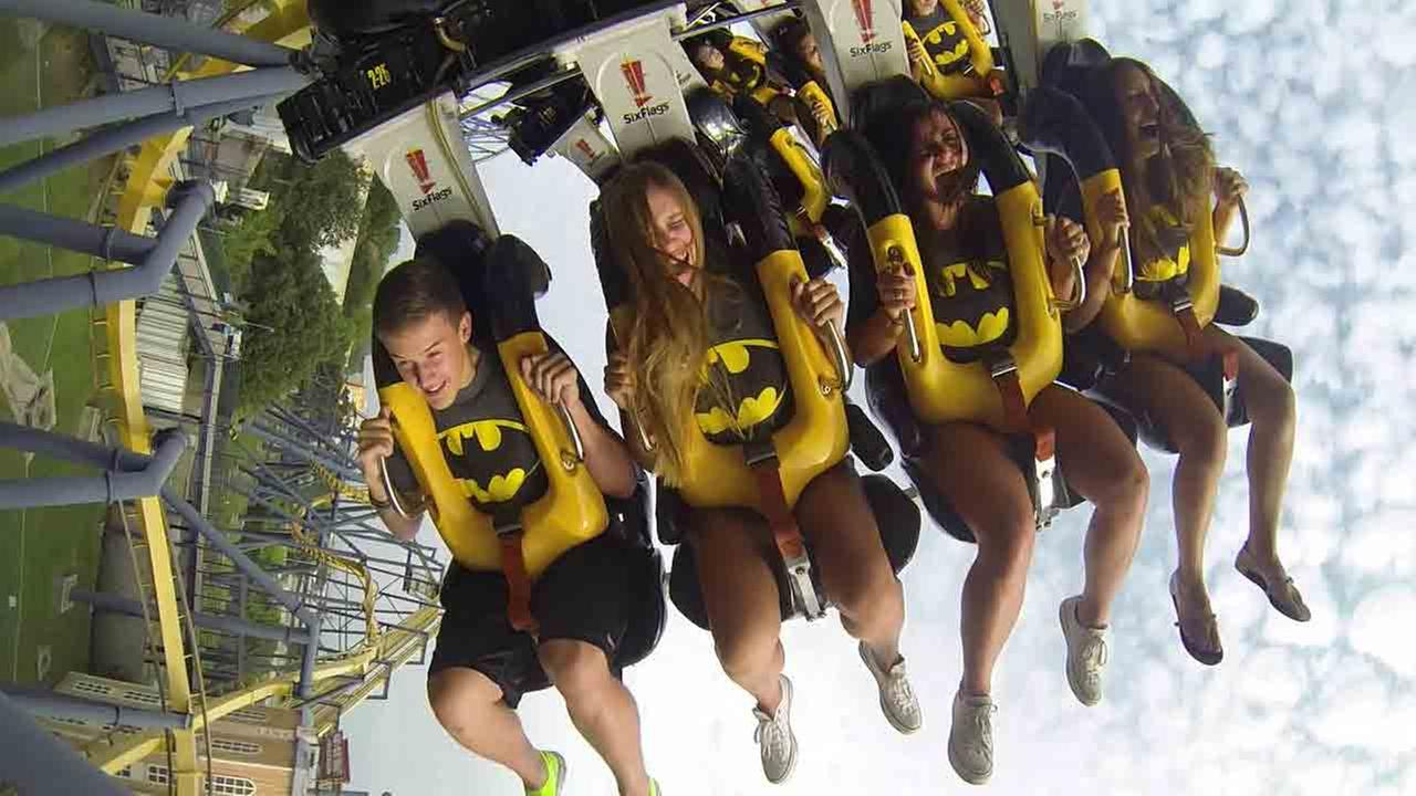 Riders experience a gravity-defying role reversal with BATMAN(TM): The Ride at Six Flags Great Adventure.