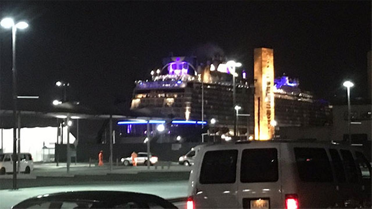 A cruise ship has returned to its New Jersey port after it was battered by a major storm in the Atlantic Ocean.