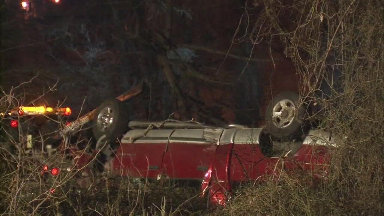 RAW VIDEO: Pickup truck overturns