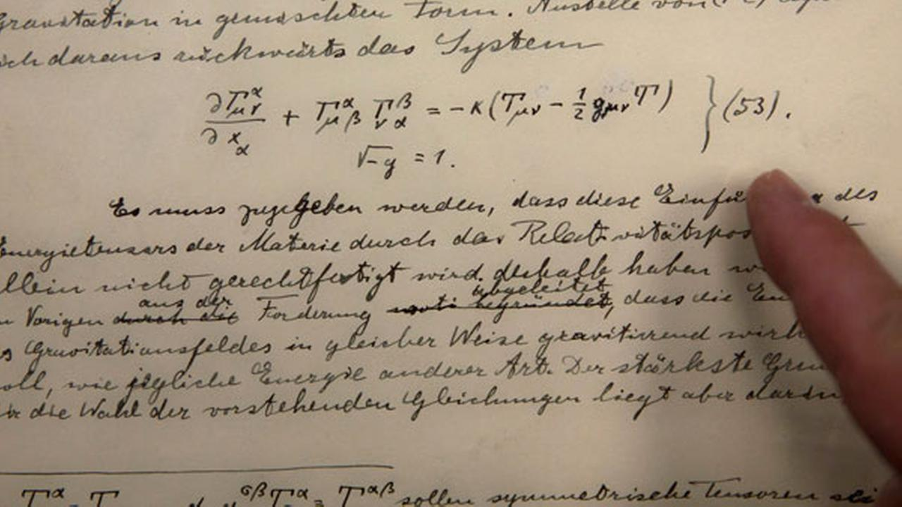 The original historical documents related to Albert Einsteins prediction of the existence of gravitational waves are seen at the Hebrew university in Jerusalem, Feb. 11, 2016.