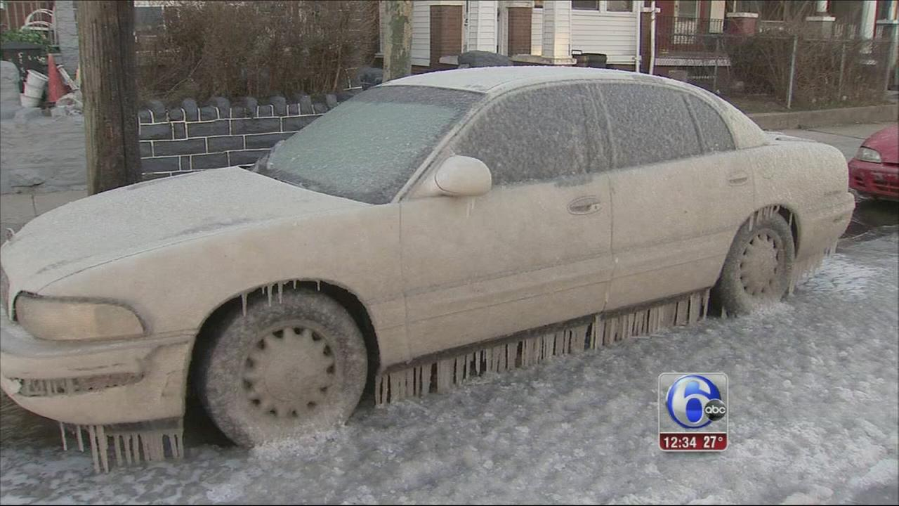 VIDEO: Water line bursts in W. Phila.