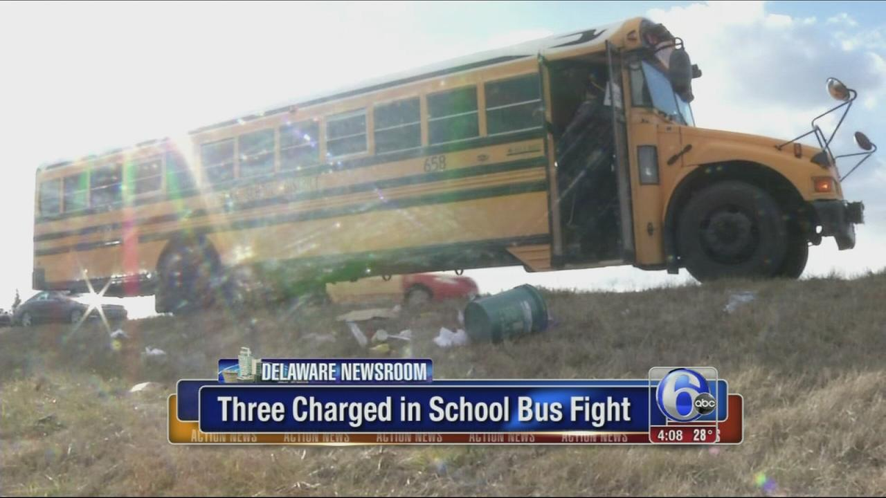 VIDEO: 3 students charged in Delaware school bus fight