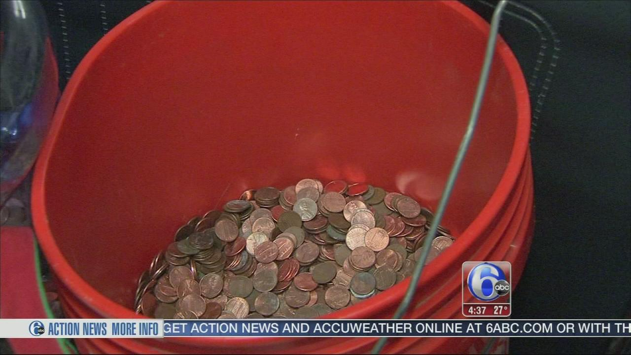 Big donation, a penny at a time