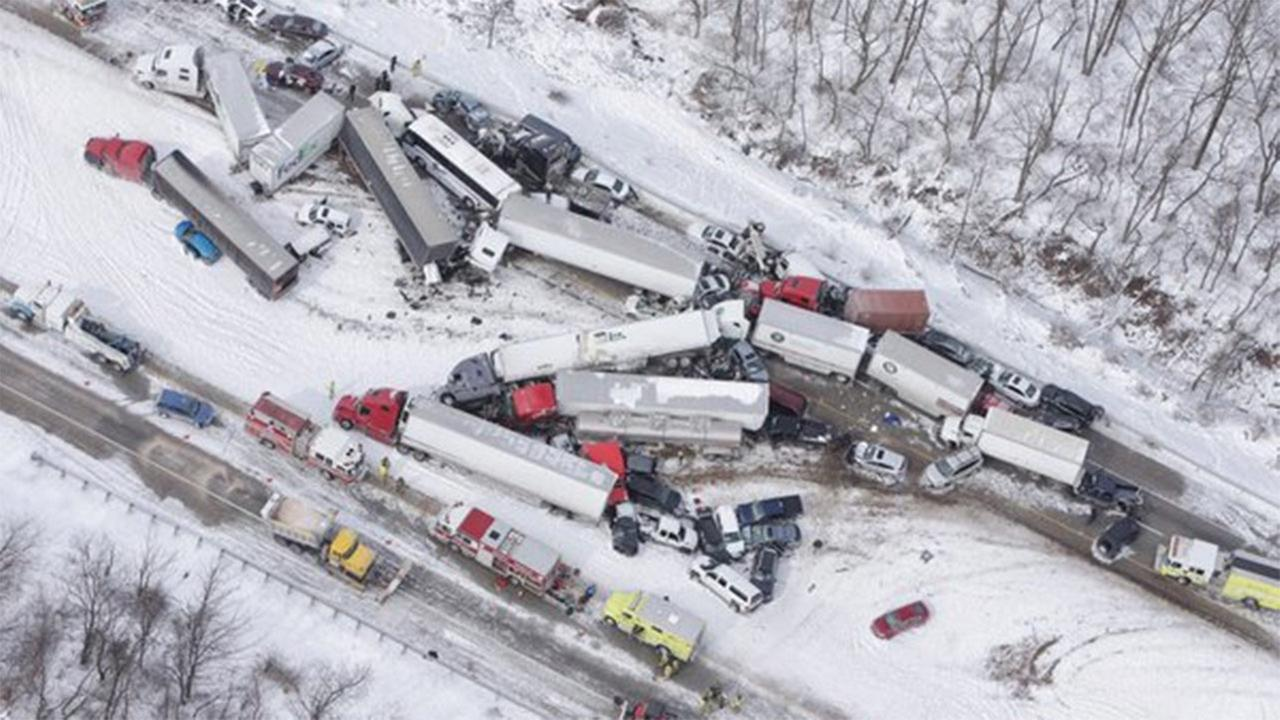 A deadly pileup involving dozens of vehicles on a Pennsylvania interstate sent more than 40 people to hospitals.