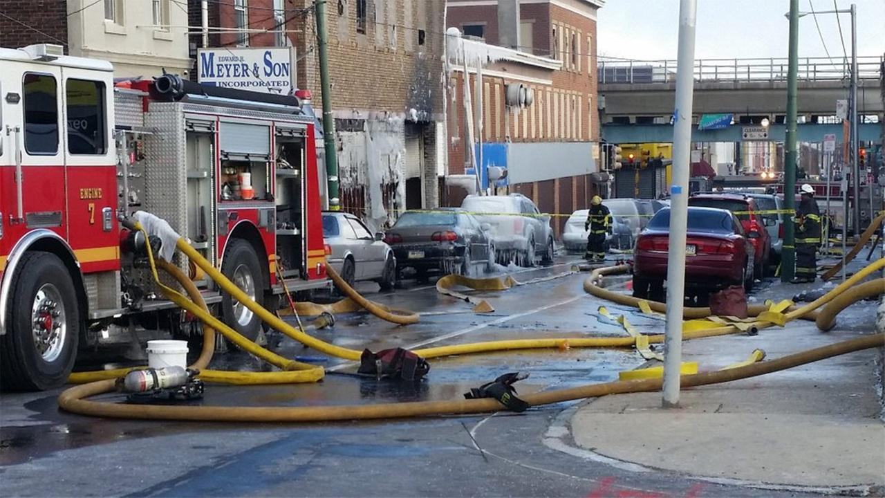 A Mayday call was made for a firefighter on the scene of a 6-alarm commercial building blaze in Philadelphias Frankford section.