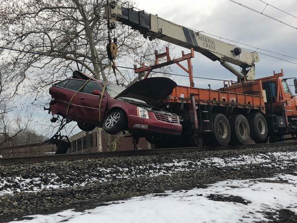 Commuter train hits unoccupied auto near Philadelphia