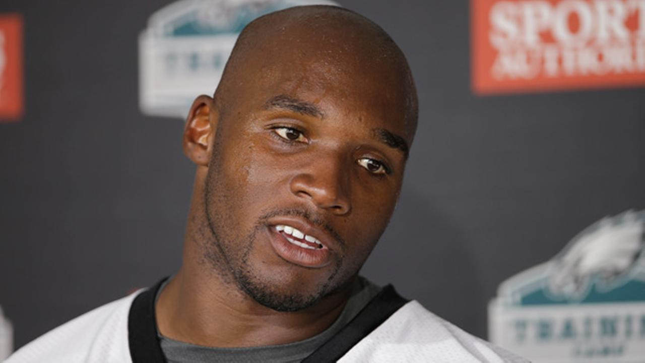 FILE - In this Aug. 3, 2015, file photo, Philadelphia Eagles DeMeco Ryans speaks with members of the media after practice at NFL football training camp in Philadelphia.
