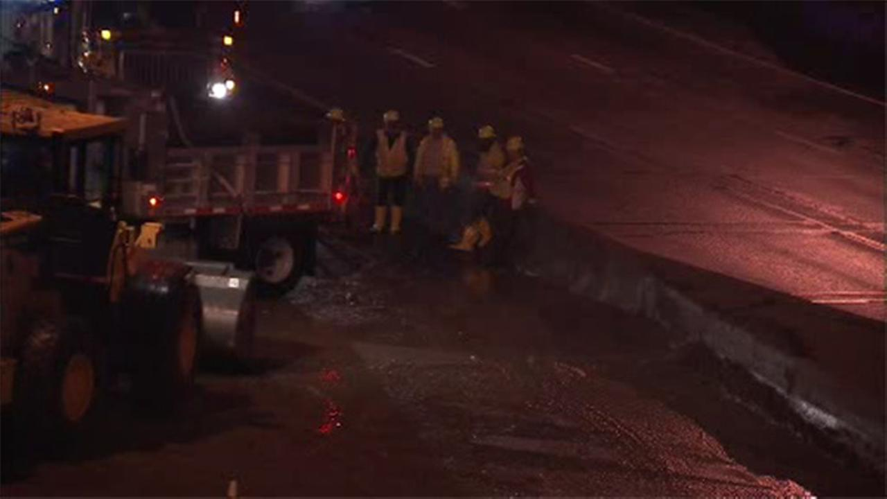 Storm cleanup on I-76; Pothole damages 13 cars on I-95