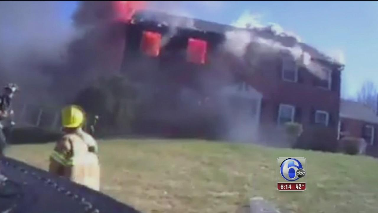 VIDEO: Incredible view of Delco firefighter battling blaze