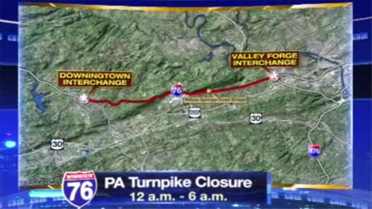 TRAFFIC ALERT: Stretch of Pa. Turnpike closed overnight