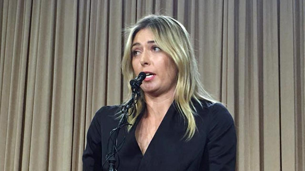 Five-time Grand Slam tennis champion Maria Sharapova speaks at a news conference in Los Angeles, Monday, March 7, 2016.