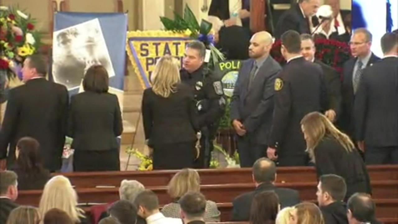 The funeral for Trooper Sean Cullen was held at Saint Charles Borromeo Roman Catholic Church in Cinnaminson.