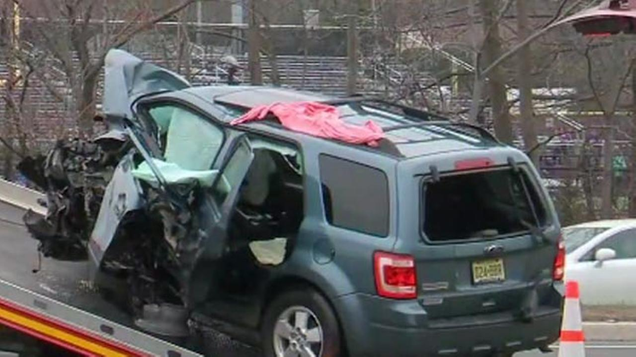 Pictured: The scene of a crash in Old Bridge, New Jersey that left three people dead.