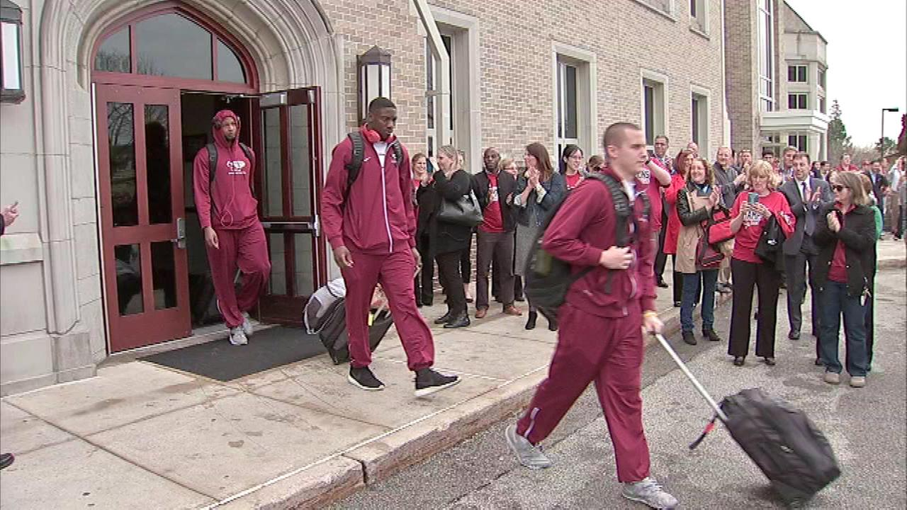 After practice, the Saint Josephs University Hawks make their way to the Big Dance.
