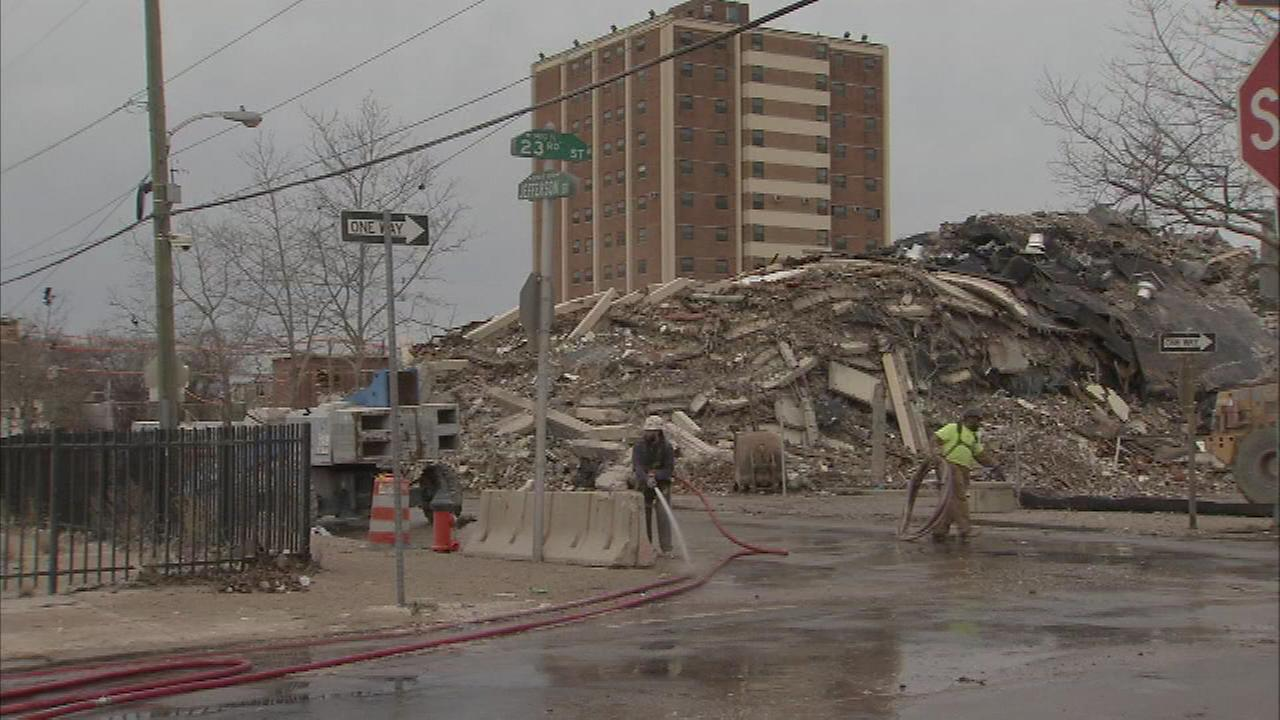 The Action Cam was on the ground and Chopper 6 was over the scene as two PHA high rises came down Saturday morning.