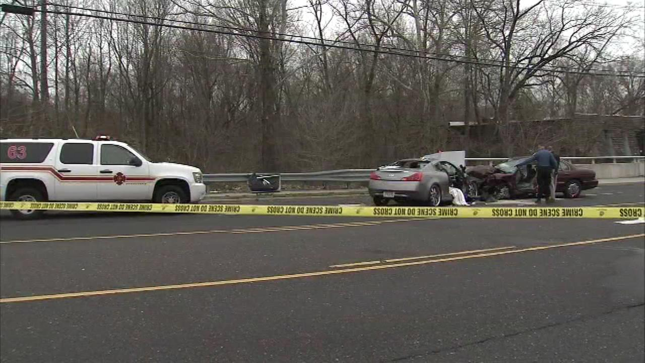 Pictured: The scene of a head-on crash in Pine Hill, New Jersey.