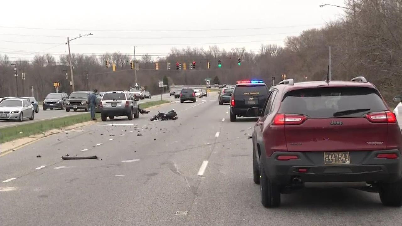 Pictured: The scene of a crash involving a motorcycle and a Jeep Cherokee in Christiana, Delaware.
