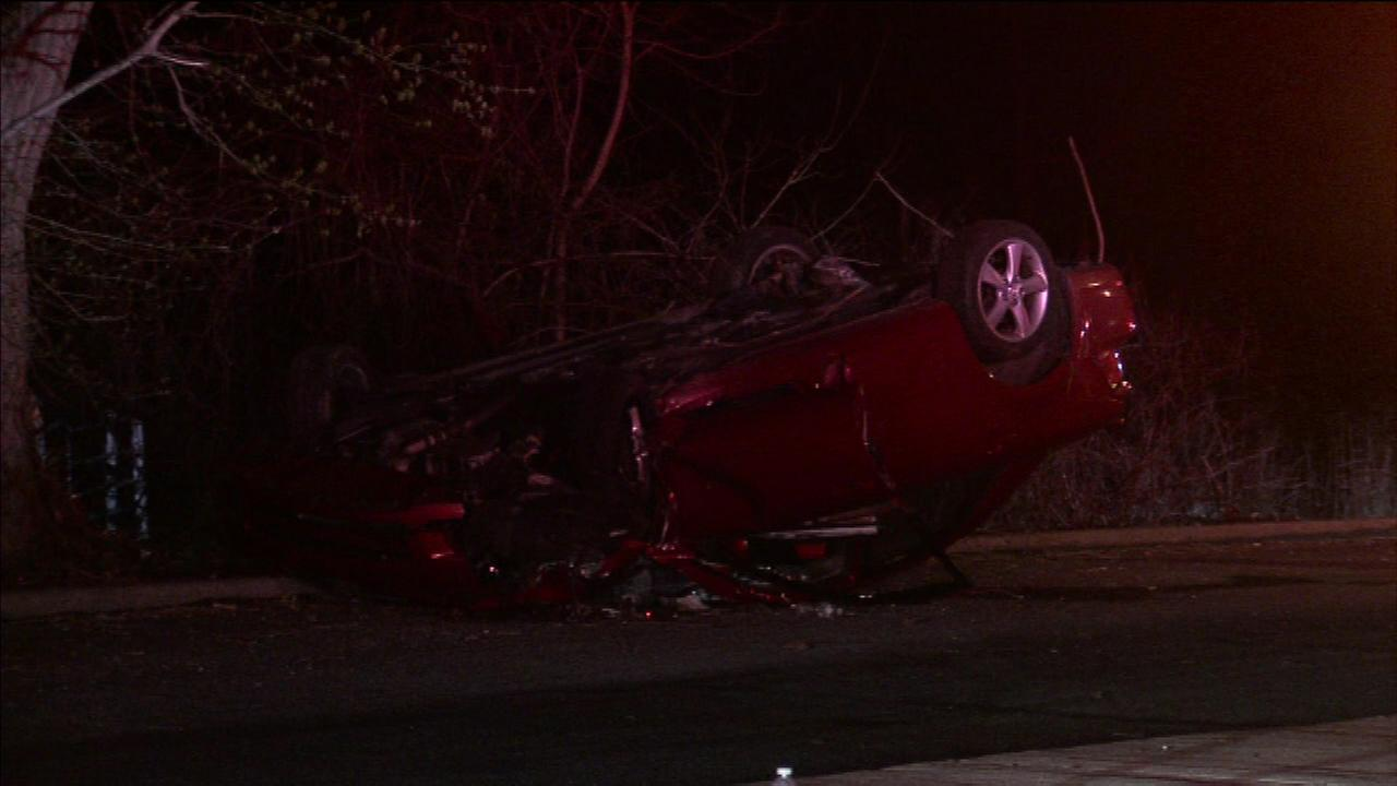 A man is in the hospital after his SUV flipped over on a Philadelphia street.
