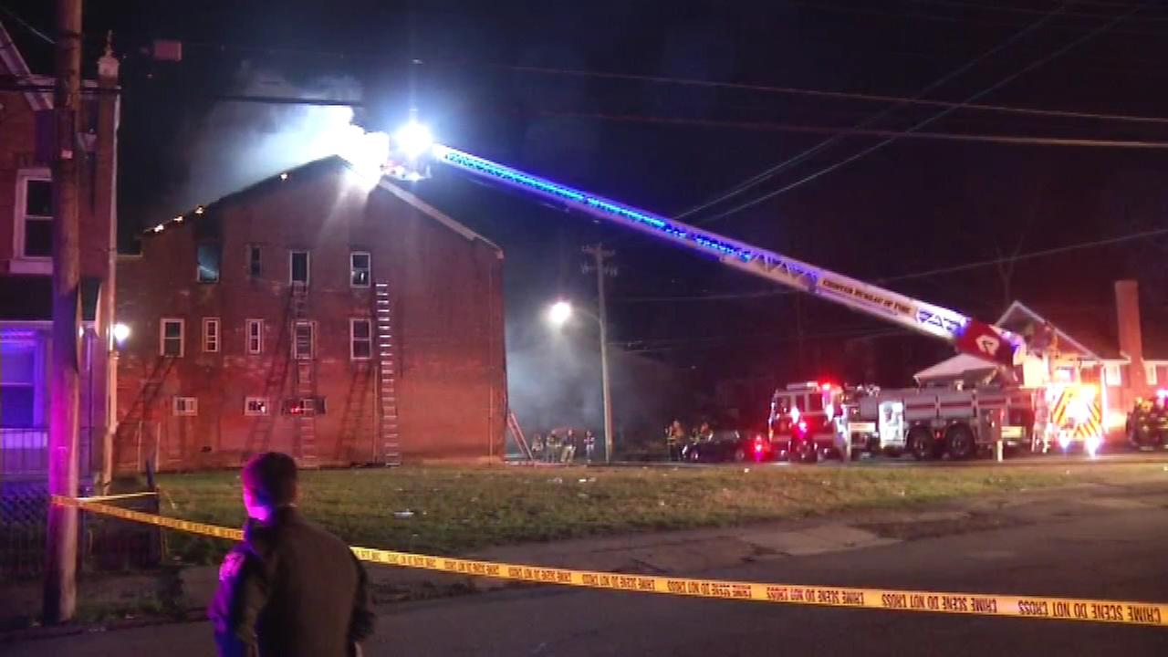 Firefighters rescued a resident in a 2-alarm fire in Chester, Delaware County.