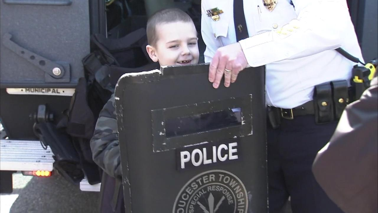 7-year-old Liam Lindsey was sworn in as an honorary member of the Gloucester Township Police Department.