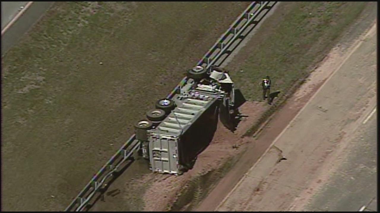 RAW VIDEO: Dump truck overturns on Rt. 42