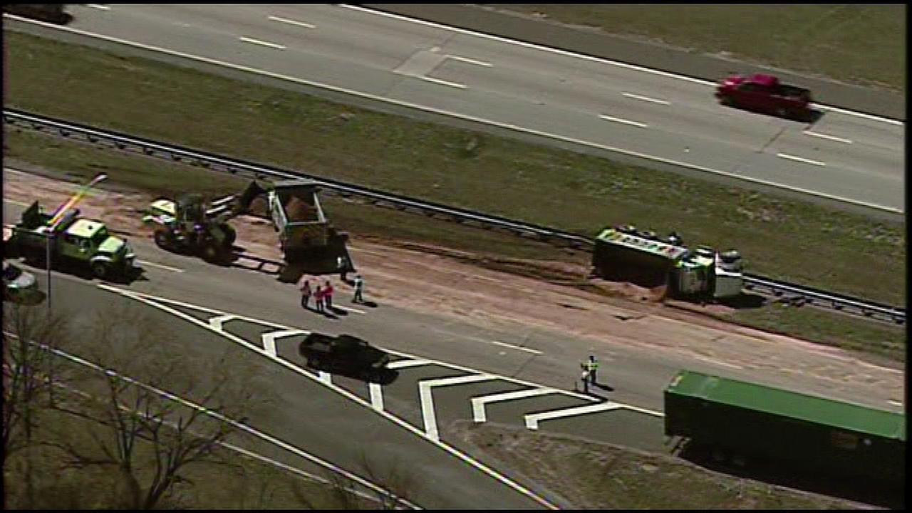 Chopper 6 was over the scene of where a dump truck overturned on Route 42 in Gloucester Township, Camden County on Tuesday.