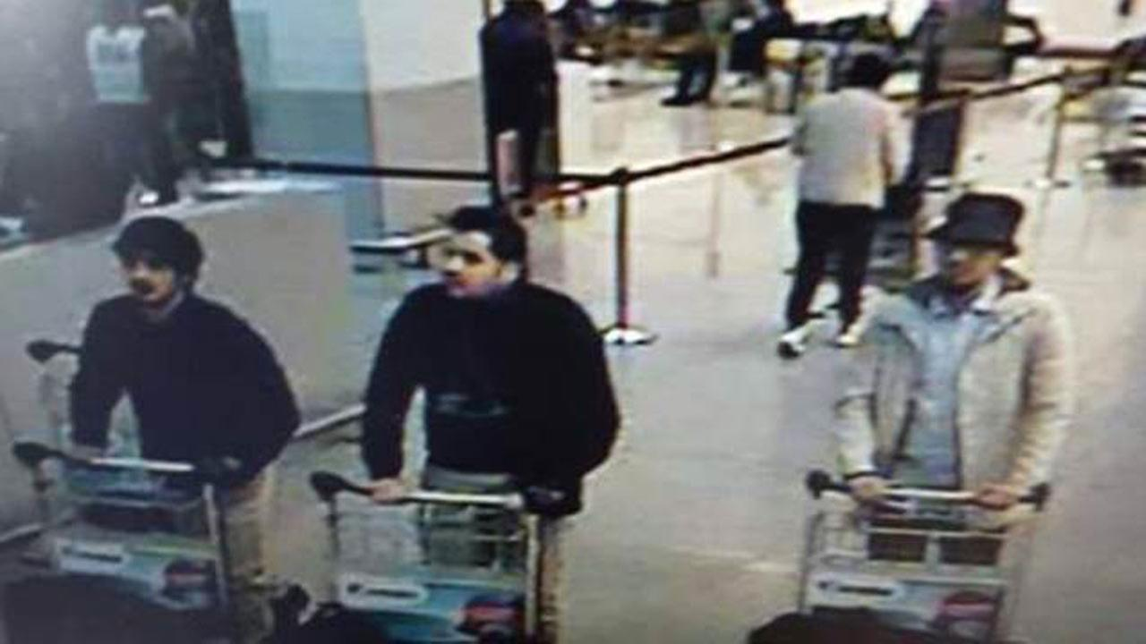 An image made from a security camera and released on March 22, 2016 by the Belgian federal police shows what the police say are possible suspects in the Brussels airport attack.