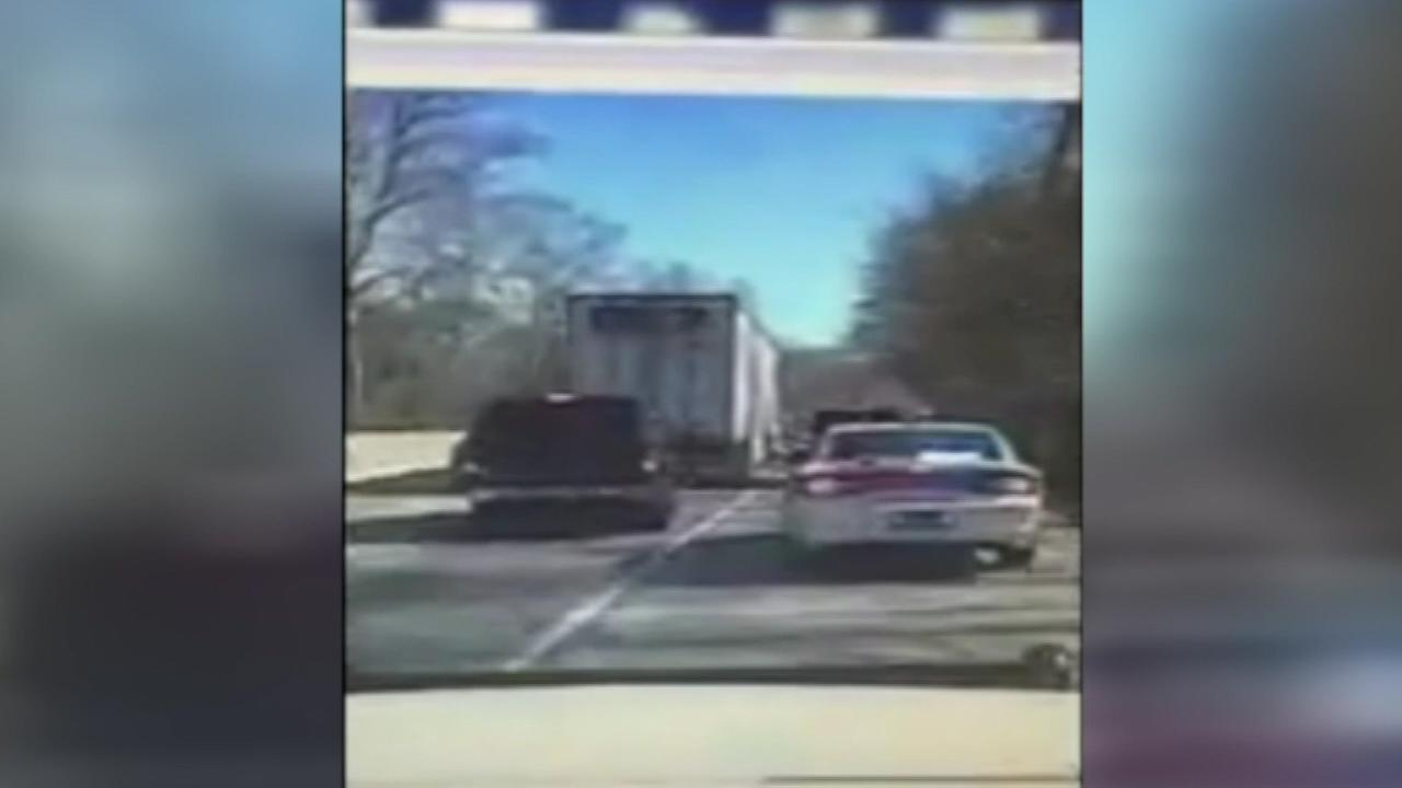 Pictured: Police dashcam video shows the March 1, 2016 police chase on the Schuylkill Expressway that ended with the arrests of seven alleged members of the Felony Lane Gang.