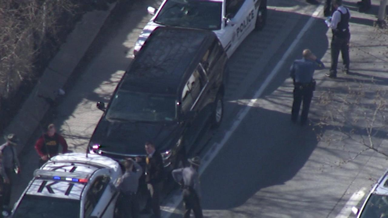 Pictured: Chopper 6 shows the aftermath of the police chase on the Schuylkill Expressway on March 1, 2016. Seven alleged Felony Lane Gang members were arrested.