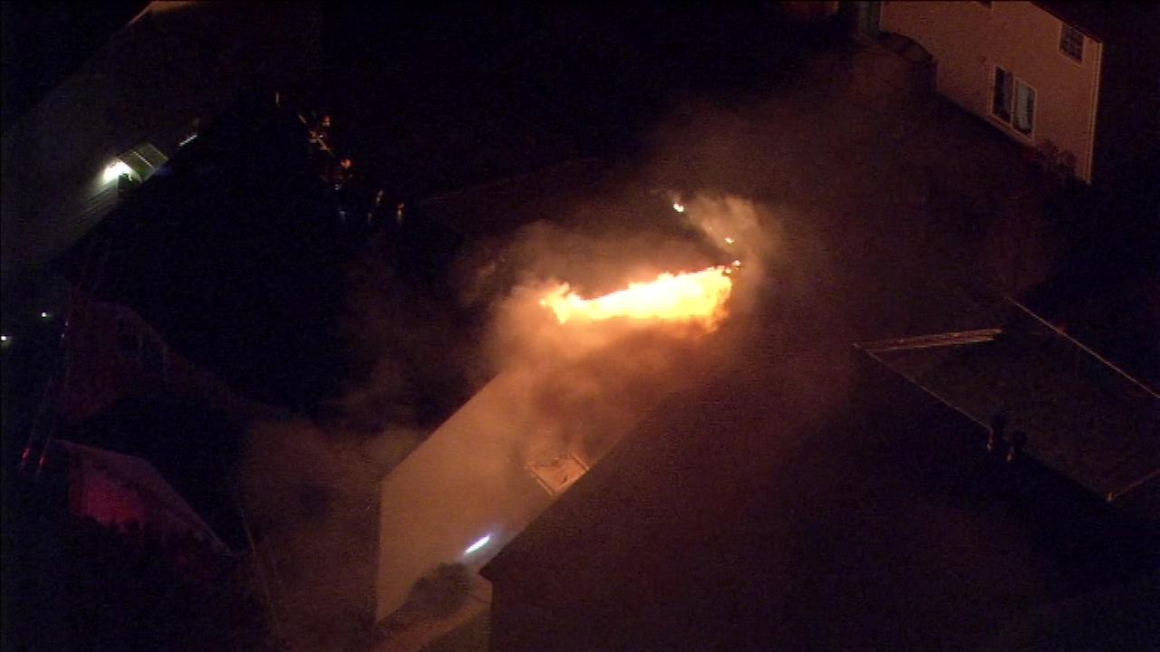 Philadelphia fire crews were called to a house fire in the Burholme section of Philadelphia Tuesday night.