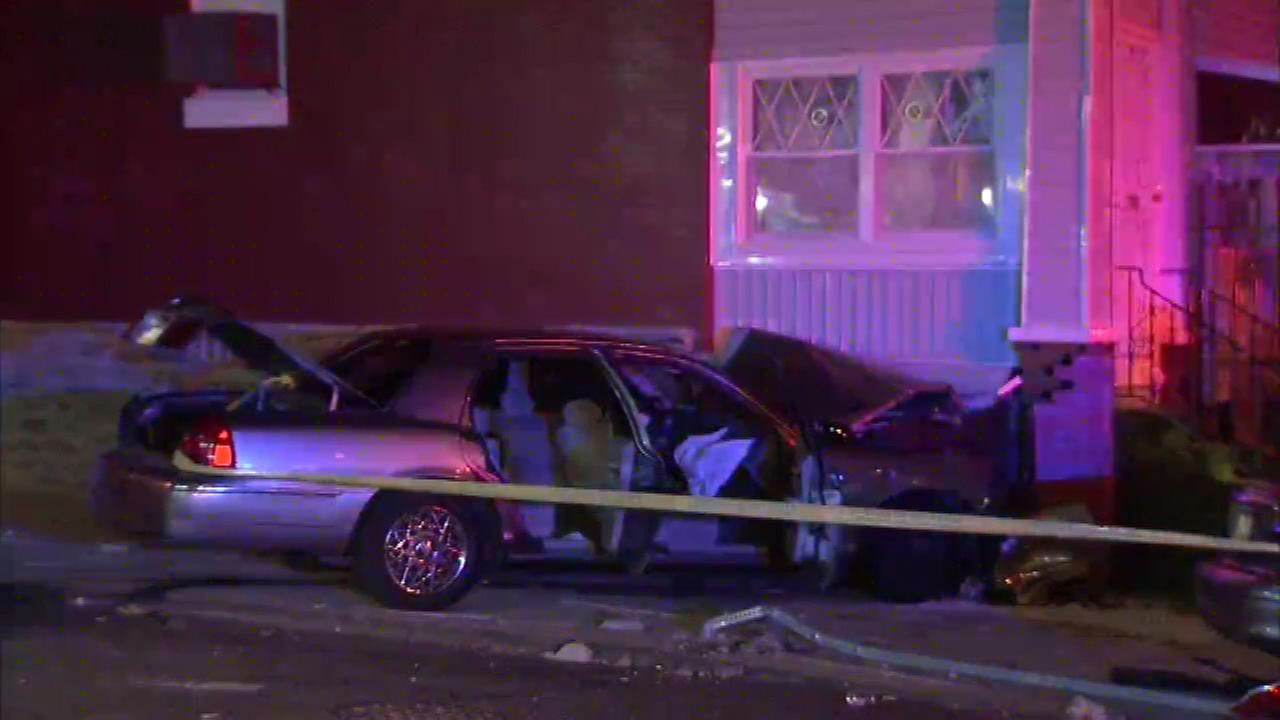 Philadelphia police are investigating a crash in Olney that sent two people to the hospital.