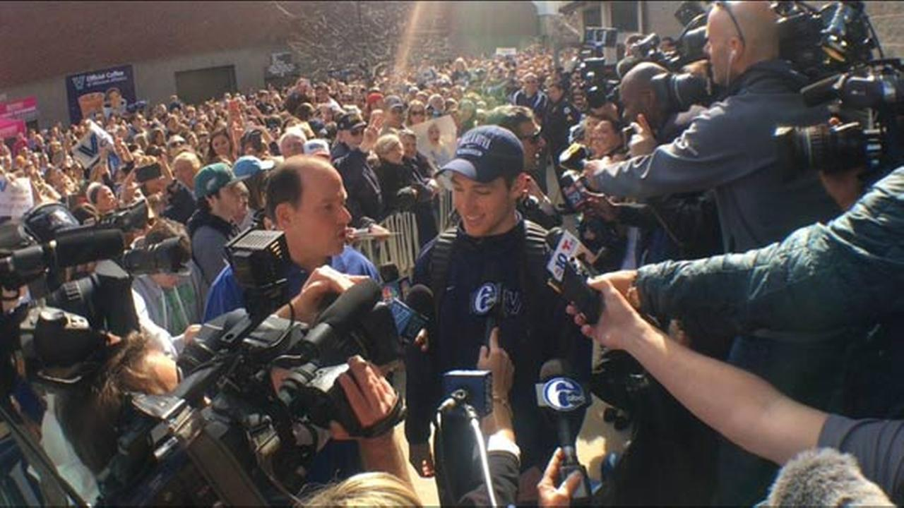 Villanova University holds a sendoff for the mens basketball team as they head to Houston for the Final Four.