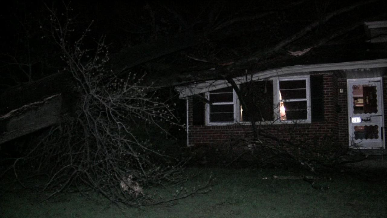 The high winds caused a tree to topple on a house in Cherry Hill, N.J.