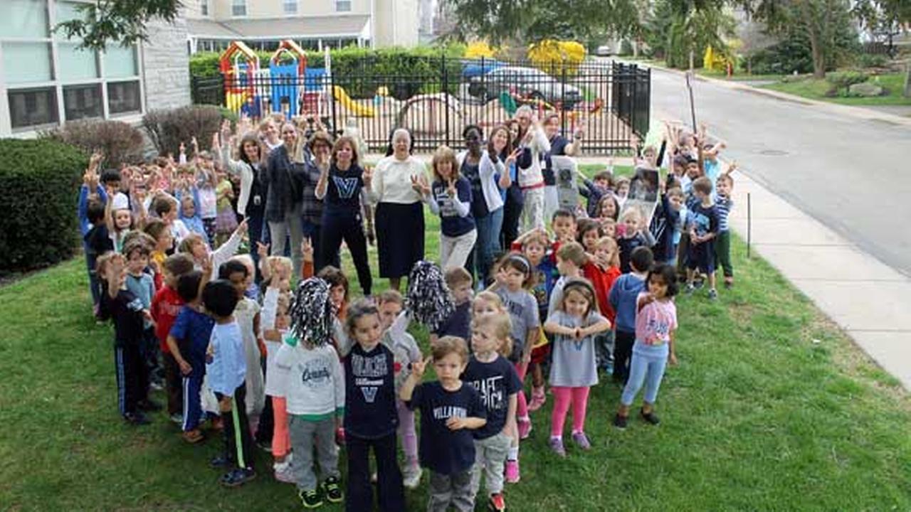 Villanovas littlest fans cheer on the Wildcats at Assumption Academy in Wayne, Pa.Facebook/Assumption Academy