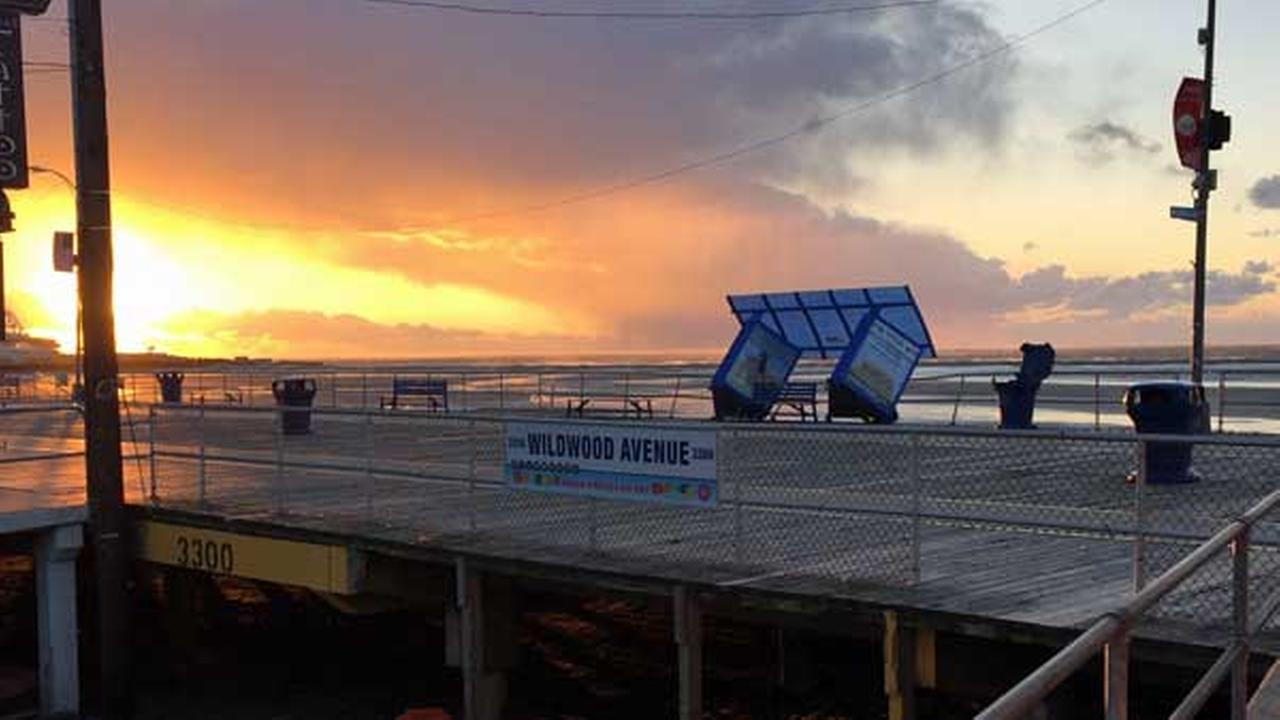 Winds blew over a rest shelter on the boardwalk in Wildwood, N.J.Joe Dolbow