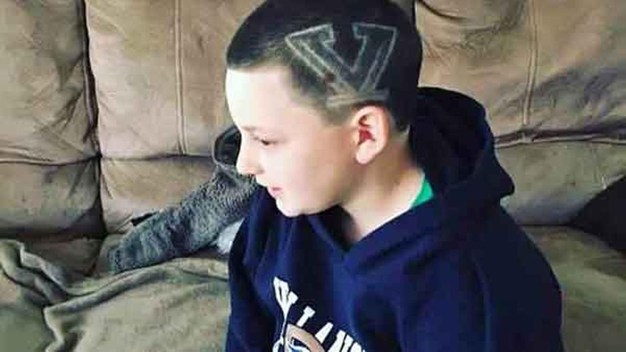 Thomas Slavinski of Clifton Heights, Pa. says he is the biggest Villanova fan - and he has the haircut to prove it!Facebook/Kristin Liate