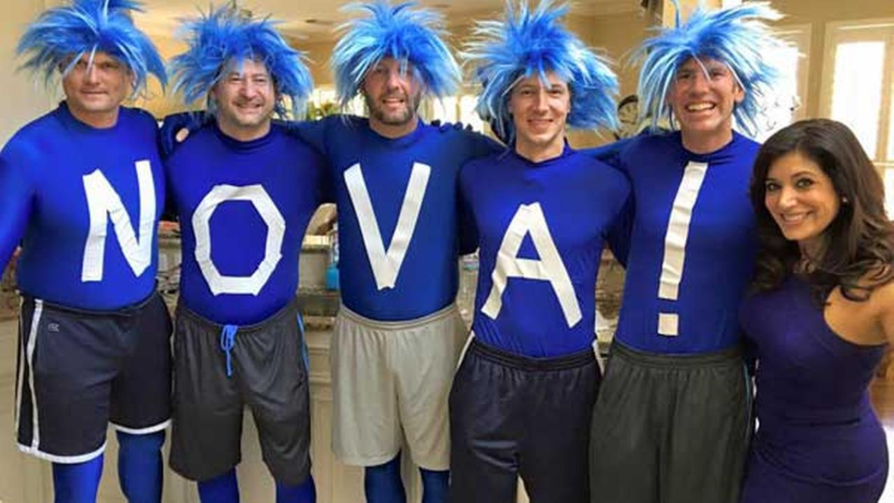 Action News reporter and Villanova Alum, Alicia Vitarelli, with the Blue Nova Guys before the big game.Facebook/Alicia Vitarelli