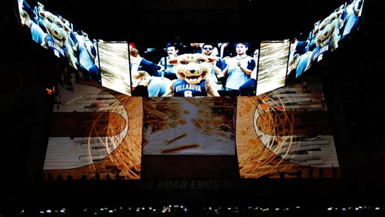 Villanova players are introduced before the NCAA Final Four tournament college basketball championship game against North Carolina, Monday, April 4, 2016, in Houston.  AP Photo/Morry Gash