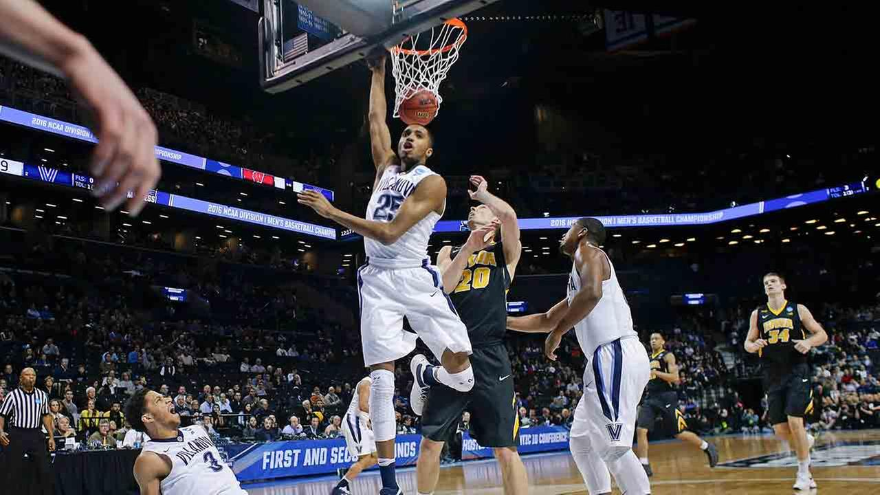 Villanovas Mikal Bridges  follows up on a shot by Josh Hart during the first half of a second-round mens college basketball game in the NCAA Tournament.