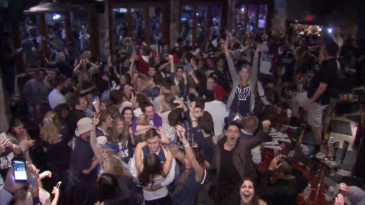 Nova Nation fans celebrate after Villanova defeats North Carolina to become national champions.