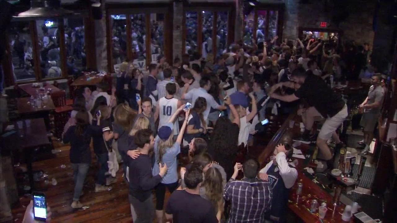 Nova Nation fans celebrate after Villanova defeats North Carolina to become national champions.