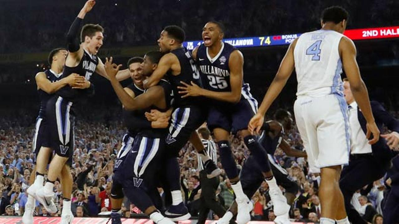 Villanova players celebrate after the NCAA Final Four tournament college basketball championship game against North Carolina, Monday, April 4, 2016, in Houston. Villanova won 77-74