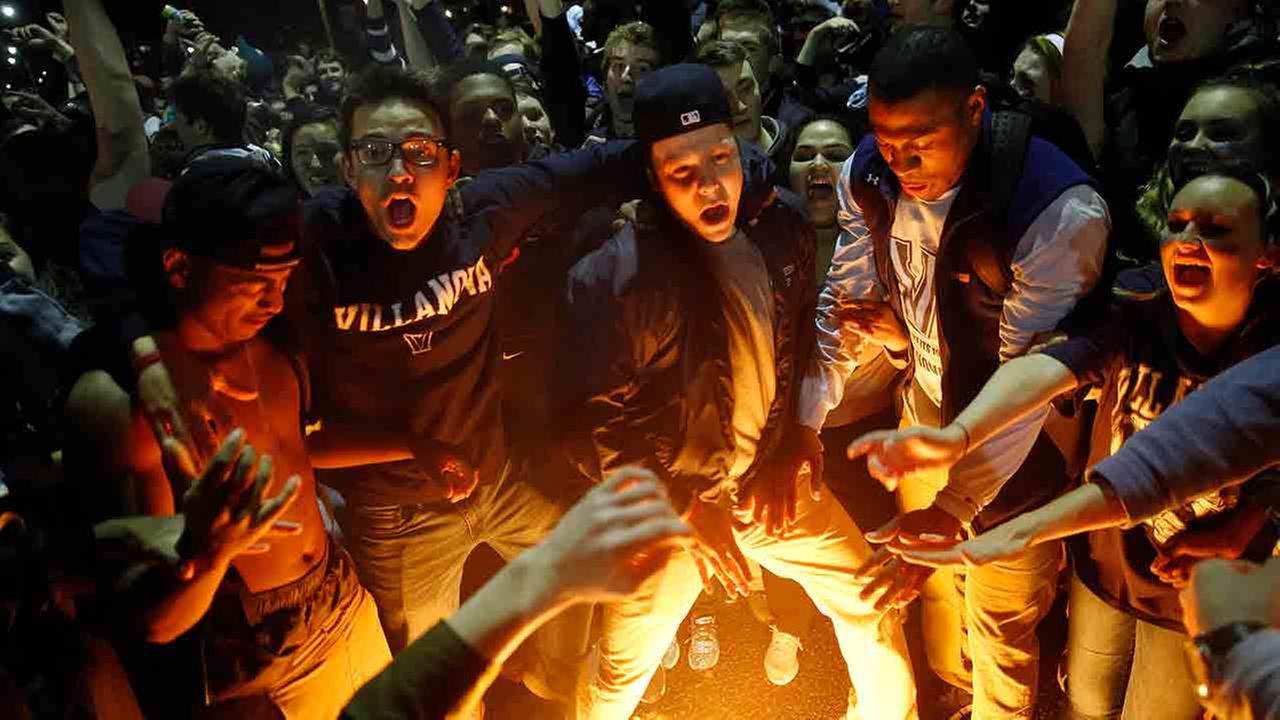Thousands of Villanova University students took to the streets Monday night to celebrate the Wildcats first NCAA championship title since 1985.