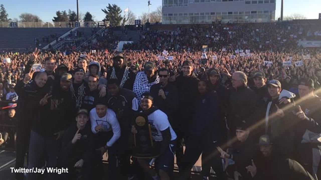 The scene from Villanova championship homecoming courtesy of head coach Jay Wright.